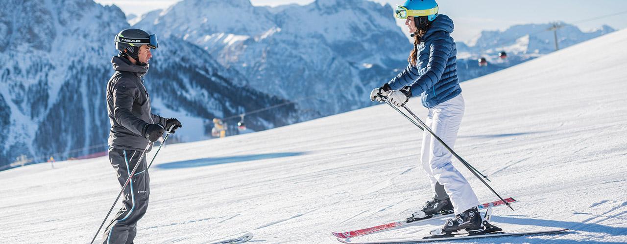 Skifahren am Helm